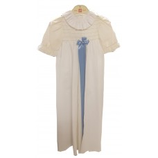 Ali Christening gown white with embroided chemisette and long blue silk ribbon