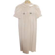 Ali Christening gown vite with 2 flowers
