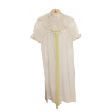 Ali Christening gown white with embroided chemisette and long yellow silk ribbon