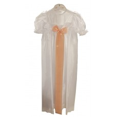 Ali Christening gown  in white with wide pink ribbon