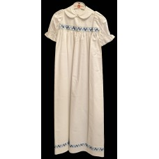 Ali Christening gown  in white with blue border