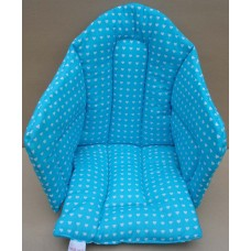 Ali Seat Cushion Cotton Turquoise with Small Hearts