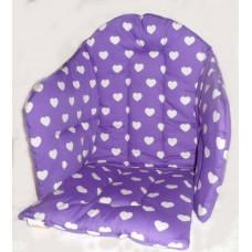 Ali seat cushion cotton purple with big hearts