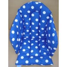 Ali sittdyna bomull blå med stora vita prickar