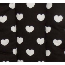 Ali Seat Cushion Cotton Black with Big Hearts