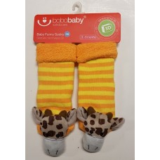 Bobobaby Funny Socks 3D Giraffe Orange/Yellow Stripes