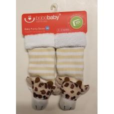 Bobobaby Funny Socks 3D Giraffe White/Green Stripes