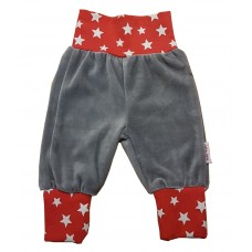 Liten Jag Trousers Grey Red Elastic with White Stars