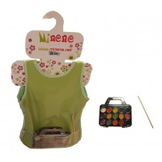 Minene Apron Green with Water Colours and Brush