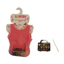 Minene Apron Red with Water Colours and Brush
