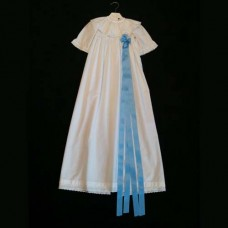 Christening Dress 100% White Cotton with Blue Ribbon for Rent