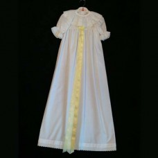 Christening Dress 100% White Cotton with Yellow Ribbon