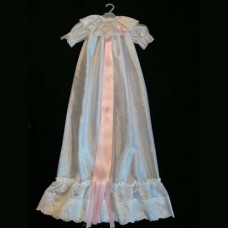 Christening Dress White Shantung with Pink Ribbon