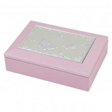 Dacapo Silver smyckeskrin i trä med speldosa Rosa